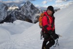Author Jeff Evans hiking a top a snowy mountain.