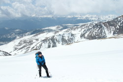 Team Member Adele trains on St. Mary's Glacier in Colorado during Mission: Mt. Whitney's first team training.