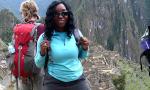 Author Michelle, atop a summit