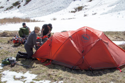 The group sets up basecamp at St. Mary's Glacier. Photo credit: Rob Jackson