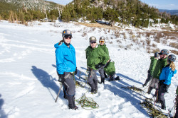 The team gearing up to learn the technical skills involved in using ice axes. Photo credit: Rob Jackson