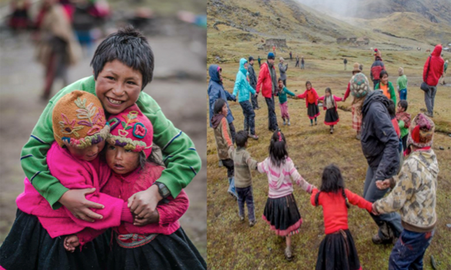 Images of group of hikers dancing with small children.