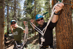 Team members work on the high ropes course at the Colorado Outward Bound school during the second team training.