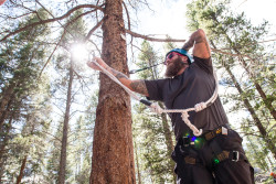 Jeremy works his way through the ropes course at Mission: Mt. Whitney's second retreat