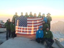 The Mission: Mt. Whitney team atop 14,505' at Mt. Whitney - 9/11/14, sunrise.