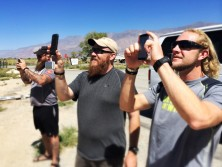 Team members Jeremy, David and Brian snap a photo of Mt. Whitney while they are loading up to depart (Sept 6)