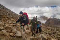 Jody, David and other team members walk a steep and rocky section of the path to Mt. Whitney